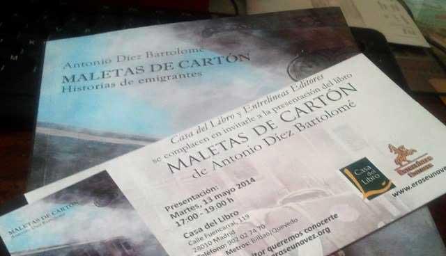 """PRESENTACIÓN DEL LIBRO: """" MALETAS DE CARTÓN"""" AUTOR ANTONIO DÍEZ BARTOLOMÉ"""